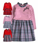Girls Dresses New Kids Tartan Check Winter Long Sleeved Dress Ages 2 - 10 Years