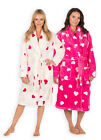 Ladies Heart Print Dressing Gown New Womens Shawl Bathrobe Sizes UK  8 - 22