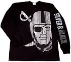 RAIDERS Long Sleeve T-Shirt Raider Nation Silver Black Tee Mens L-3XL Black New