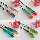 Women/Men Retro Resin Wood Colorful Pendant Handmade Necklace Rope Chain XXF