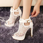 Women Lace Booties Flowers Open Toes Prom Party High Heels Ankle Boots