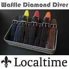 BLACK 'Waffle' Rubber Silicone Watch Straps 18-22mm 6 Rubber & 6 Stitch Colours