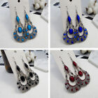 Yoocart Retro Ethnic Jewelry Rhinestone Hollow Carved Drop Dangle Hook Earrings