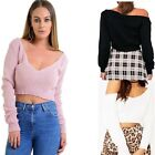 Women V Neck Knitted Off The Shoulder Ladies Cropped Sweater Jumper Top UK 8-14