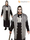 Mens Grim Reaper Costume Halloween Fancy Dress Outfit Death Horror Robe Adult