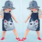 Summer Toddler Baby Girl Denim Dress Jeans Kid Overall Dress Clothes AU Size 1-6