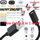 ACALI 1M / 2M 3 in 1 Magnetic LED Type C/IOS/Android Adapter Charger Data Cable