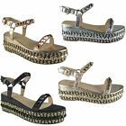 LADIES WOMENS STUDDED LOW WEDGE ESPADRILLE PLATFORMS ANKLE STRAP SANDALS SIZE