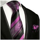 Hand Made Pink and Black Silk Tie and Pocket Square by Paul Malone