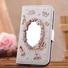 White bling kickstand diary leather cover flip card case wallet + Free Cleaner