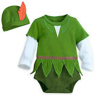 NWT Disney Store SZ 6 9 12 18 24 M Peter Pan Baby Costume Bodysuit & Hat Outfit