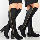 Ladies Womens Over The Knee Boots Stretchy Gold Zip Flat Low Block Heel Shoes