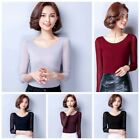 Women Elegant Autumn Shirt Long Sleeve Stretch  Mesh Casual Slim Blouse Tops