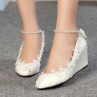 Women Princess Pearl Lace Floral Wedge Shoes Wedding Bridal High Heels New Pumps