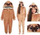 PUG Dog All In One Suit Girls Boys Fleece Hooded Flannel Brown Novelty Kids