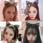 Black Cute Lovely Ladies Cat Lace Ears Party Hair Headband Hoop PROP Cosplay