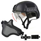 Tactical Airsoft Paintball Military Protective SWAT Helmet w/ Goggle + half MaskHats & Headwear - 177892