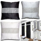 "Diamante Faux Silk Cushion Cover 18"" x 18"" (45cm x 45cm) Black/White/Silver Grey"