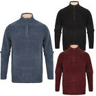 Kensington Eastside Mens Bolsover Zip Neck Chunky Knit Designer Chenille Jumper