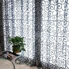 1 Piece Flocking Window Sheer Gauze Curtain Balcony Voile Divider Panel Sheer