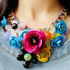 US Chain Womens Crystal Flower Statement Bib Big Chunky Necklace Collar Jewelry