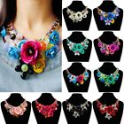 US Chain Women's Crystal Flower Statement Bib Big Chunky Necklace Collar Jewelry