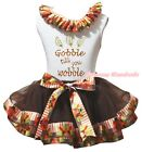 Sparkle Gobble Till You Wobble White Top Brown Turkey Trim Skirt Outfit NB-8Y