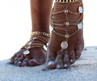 women silver Boho Beach Tassel Chain Anklet Barefoot Sandals Foot Jewelry Gift