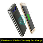 10000mAh 2 in 1 Qi Dual Wireless Fast Charger Battery Power Bank Fr Mobile Phone