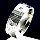 Wedding Band New Stainless Steel Mens Anniversary Engagement Ring CZ Stones