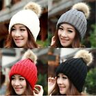 Unisex Women Warm Wool Knitted Raccoon Fur Pom Beanie Bobble Ski Hats Slouch Cap