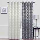 2 Pack: 100% Blackout Metallic Foil Trellis Designed Curtains - Assorted Colors