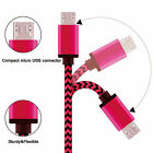 Braided Nylon Micro USB Charger Sync Data Charging Cable Cord for Phone