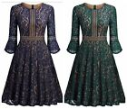 Women's Lace Floral Vintage 1950s Style Rockabilly Swing Cocktail Party Dresses