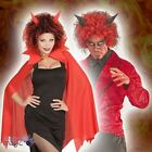 RED & BLACK CURLY DEVIL WIG WITH HORNS STAG NIGHT FANCY DRESS COSTUME ACCESSORY