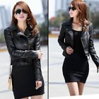 Women's Leather Short Punk Motorcycle Biker Jacket Zipper Casual Coat Outwear US