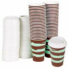9oz 250ml Paper Chocolate Mint Hot Coffee Tea Cups Lids Cocoa Drinks Disposable