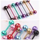 7pc 14G Surgical Steel Different Color Barbell Bar Tongue Ring Stud Piercing Pin