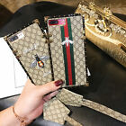 Luxury Embroidery Bee stripe Leather Strap case Cover for iPhone X 8 7 6 6S Plus