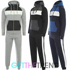 Mens Contrast Fleece Lined Casual Full Tracksuit Hooded Top and Bottoms Joggers