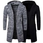 Mens Fit Hoodies Sweater Loose Cardigan Long Trench Hooded Coat Jacket Outwear
