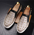 Mens Rivets Punk  Shoes Casual Slip On Rivets Studded Sneakers Trainer Loafer