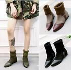 British Women Pointed Toe Knitting Pull On Ankle Boot Casual Shoes Low Heel Hot