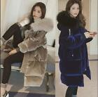 Womens Down Cotton Mid Long Hooded Coat Loose Thicken Velvet Faux Fur Parka new
