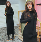Womens Black Knitted Long Sleeves High Neck Sweater Dress Slim Warm Blouses Chic