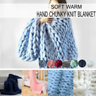 Chunky Knitted Thick Blanket Hand Yarn Bulky Knit Throw Sofa Blanket 59*47inch