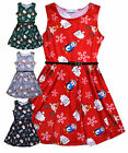 Girls Christmas Dress New Kids Sleeveless Skater Party Xmas Dresses 7 - 13 Years
