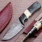 CAMEL BONE & BULL HORN-CUSTOM HAND FORGED DAMASCUS STEEL HUNTING KNIFE CK-1342