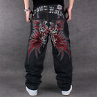 Men Loose Straight Skateboard Pants Embroidered Wings Hip hop Jeans Size 30-44