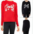 Brave Soul Womens Snow Off Christmas Jumper Ladies Sparkly Slogan Festive Top